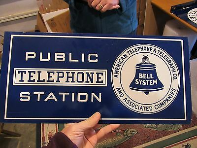 Original Double Sided Flanged Cobalt Blue Bell Telephone Porcelain Sign