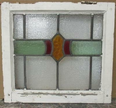 """OLD ENGLISH LEADED STAINED GLASS WINDOW Pretty Abstract 18"""" x 16.25"""""""