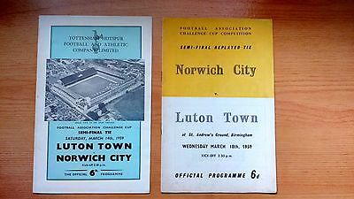 1959 FA Cup Semi Final & Replay Programmes Luton Town v Norwich City .