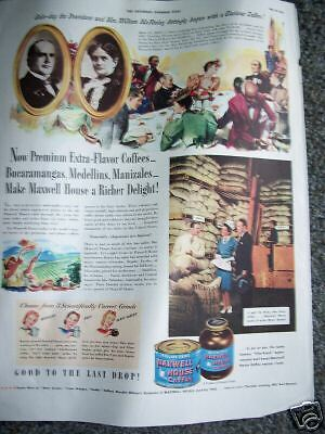 1942 Maxwell House Coffee President William McKinley Ad