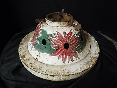 Antique Cast Iron Poinsettia Christmas Tree Stand  or Use as Lamp Base vintage
