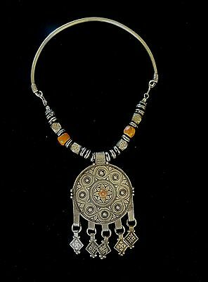 Morocco- old Ethnic Silver necklace, wood and antique coral beads