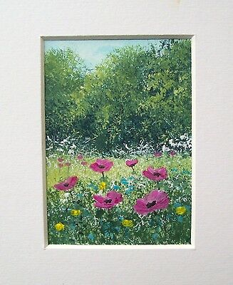 Original Pink Poppies And Wildflowers Landscape Miniature Aceo Painting