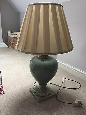 Large Green And Cream Antique Lamp