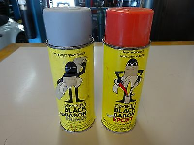 2 Vintage Coverite's Black Baron Epoxy Paint Spray Paint Cans Red & Primer
