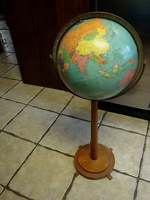 VINTAGE 1950 's  STANDARD  World  GLOBE CARDBOARD LITHO on Stand REPLOLGLE 12""