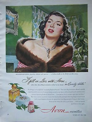 1949 Avon Cosmetics Rosalind Russell in Beverly Hills Color Ad