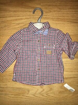Mothercare Baby Boys Long Sleeved Shirt Bow Tie New 6-9 Months