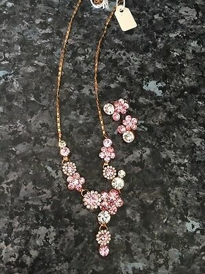 New Necklace & Earrings Set Rose Gold Pink White