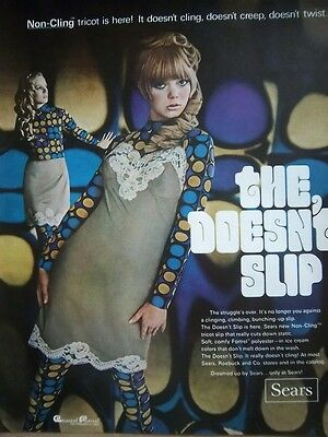 1968 SEARS Womens SLIP Not Cling Tricot MOD Ad