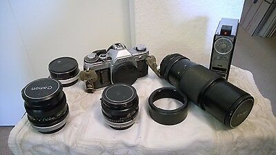 Canon AT-1 Camera Body, 3 Lenses, Flash, and 2x Tele