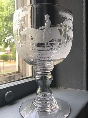 Early 19th Century English Oversized/large chalice with etched hunt scene