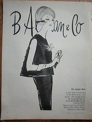 1961 Vintage B Altman & Co Flair in Back Blouse Women's Fashion Ad