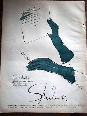 1944 Shalimar Gloves Vintage Fashion Ad