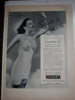 1938 Hickory Seamless Sis Women's Girdle Garters Ad