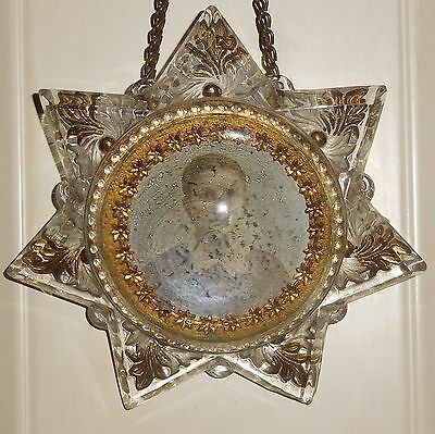 Antique Victorian 7-Point Star Mourning Magnifying Dome Glass Paperweight