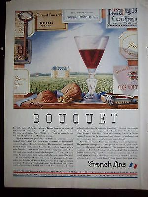 1934 French Line Cruise Ship Bouquet Art by Peirre P. Roy Color Ad
