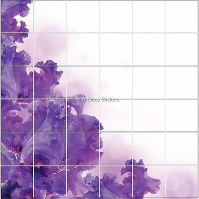 Stickers Tile Wall Deco Flower Violet 1925