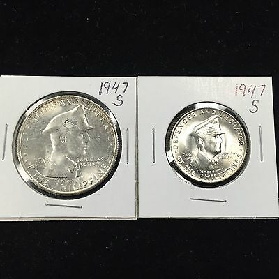 1947 S Uncirculated Philippines MacArthur One Peso/Fifty Centavos Coin Set