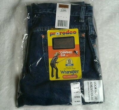Boys New Wrangler Pro Rodeo Cowboy Cut Original Fit Jeans Adjustable Waist Sz 16