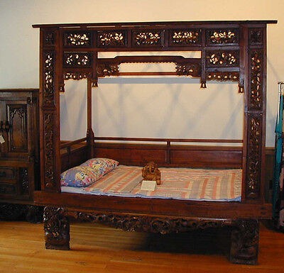 Hand Carved Solid Teak wood Opium Bed from Java Indonesia