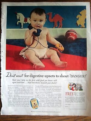 1935 Cream of Wheat Cereal Baby toy Telephone Ad