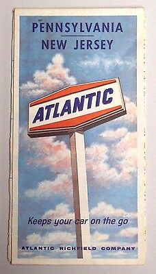 Vintage 1966 ATLANTIC GAS STATION Fold-out Road Map PENNSYLVANIA / NEW JERSEY