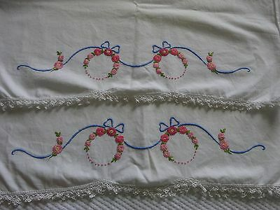 2 Vintage Embroidered Standard Pillowcases Pink Flowers Blue Bows Crochet Trim