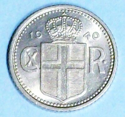 Iceland 10 Aurar 1940 About Uncirculated Copper Nickel Coin