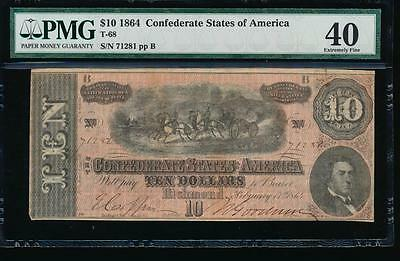 AC T-68 $10 1864 Confederate Currency CSA PMG 40 comment
