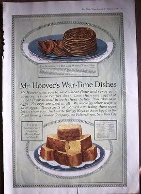1917 Mr. Hoover Southern Corn Bread Wheat Flour Hot Cake AS IS Ad