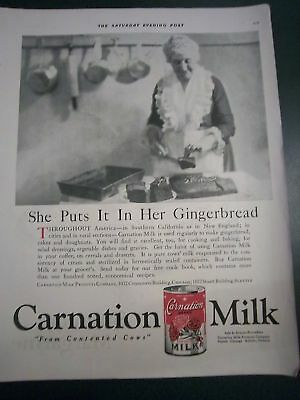 1920 Old Woman Apron Carnation Milk in Gingerbread Ad