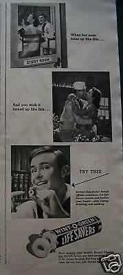 1945 Life Savers Candy When Her Nose Turns Up Ad