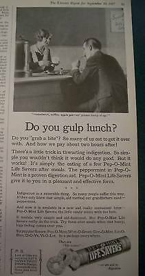 1927 Life Savers Candy Do you Gulp Lunch Waitress Ad