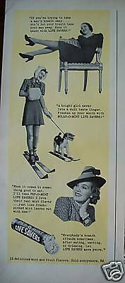 1939 Life Savers Candy Lady Skis Schnauzer Dog Ad