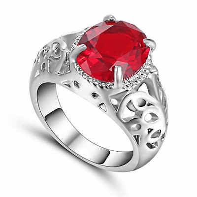 Gorgeous Red Ruby Size 6 white 10kt gold filled Men's Wedding Ring Gift