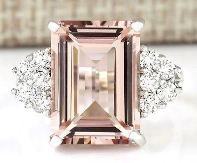 New Fashion Women Jewelry 925 Silver Morganite Engagement Party Band Ring Size 9