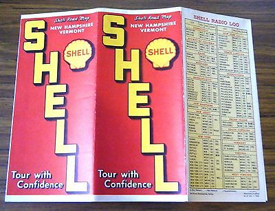 1950 SHELL New Hampshire & Vermont Road Map