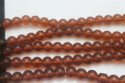 DIY Wholesale 50Pcs Coffee Round Crafts Crystal Glass Beads Spacer 6mm ZD62