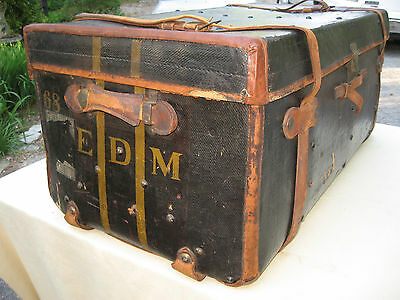"Rare E D Morgan ""newport"" Antique Leather Steamer Trunk Ocean Liner Chest"