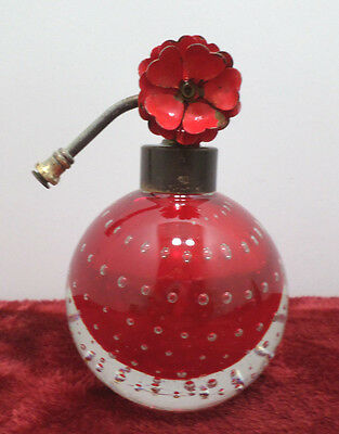 Antique Art Deco Perfume Bottle Red Cut to Clear Crystal Suspended Bubbles
