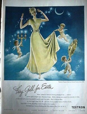 1948 Vintage TEXTRON Hostess Coat Robe Lingerie Fairy Gold for Easter Ad