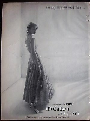 1948 Vintage McCallum and Propper Nylons Hosiery Stockings  She Wears Them Ad