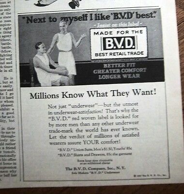 1927 Vintage B.V.D. Men's Underwear Next to Myself the Best Ad