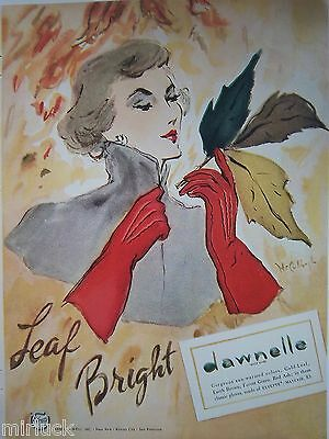 1947 Vintage Leaf Bright DAWNELLE Womens Gloves McCullough Art Ad