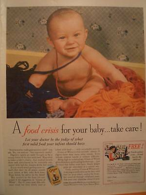 1932 CREAM OF WHEAT a food crisis for your baby  ,ad