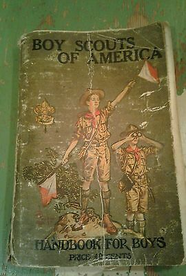 Vintage Boy Scouts of America Handbook for Boys 1916  RARE VERY NICE BADGES OLD