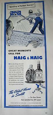 1941 Haig & Haig Scotch Whisky Bowling Perfect Score Ad