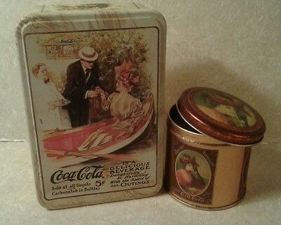 Lot of 2 Vintgage Style Coca Cola Tins