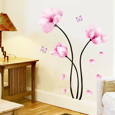 UK 3D Pink Flower Home Room Decor DIY Wall Sticker Removable Decal Mural Decor